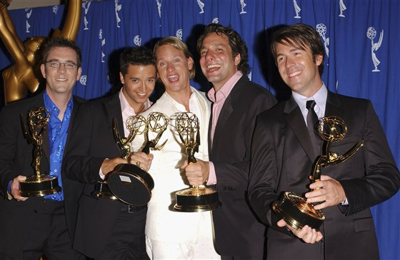 "The original cast of ""Queer Eye for the Straight Guy"" -- (L-R) Ted Allen, Jai Rodriguez, Carson Kressley, Thom Filicia and Kyan Douglas -- pose with their Primetime Emmy Award for Outstanding Reality Program on September 12, 2004, in Los Angeles. 