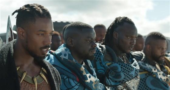 Michael B. Jordan, left, as Erik Killmonger and Daniel Kaluuya as W'Kabi with border tribesmen in Black Panther | Marvel Studios