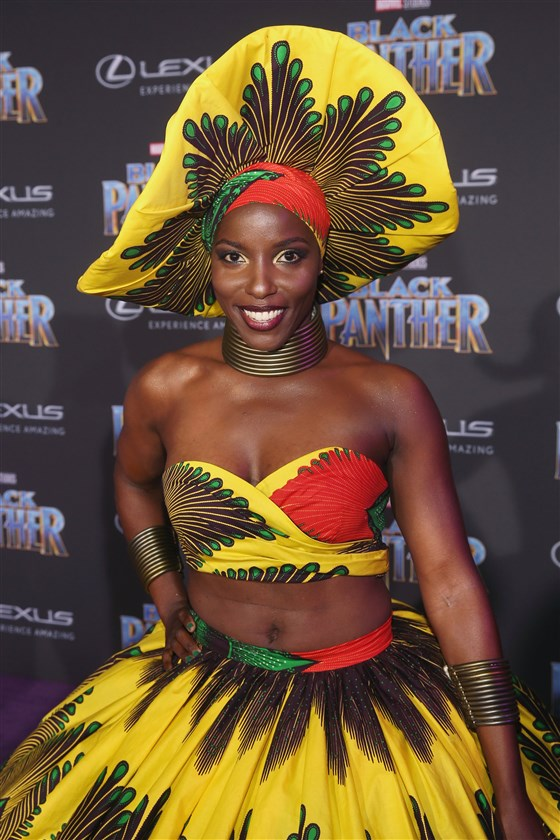 "Janeshia Adams-Ginyard at the World Premiere of the movie ""Black Panther"" in Hollywood, California on Jan. 29, 2018 . (Jesse Grant / Getty Images for Disney"