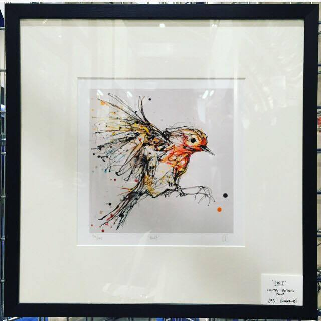 Kathryn Callaghan , Comber. Her work is created by freestyle pouring the paint. She and mange to capture the movement of this robin's wings perfectly.  Look out for her stag and hare prints which are my personal favourites.