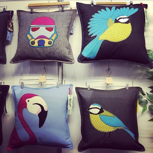 Gertrude Anna . These playful colourful cushions feature anything from flamingos, ravens, stags to hares and  storm troopers. Made using scrap fabric, Timmy, the man behind the brand uses a 'waste not, want not' approach to his designs.
