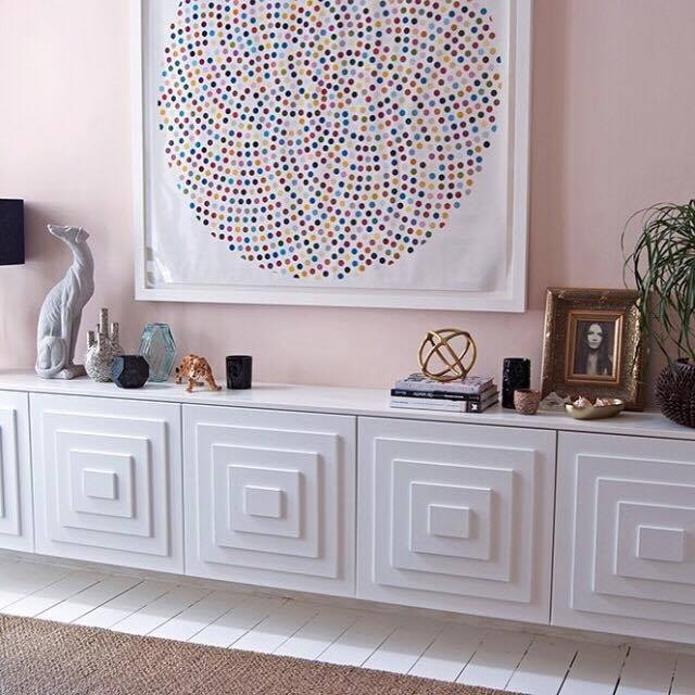 This art deco inspired sideboard by Bianca Hall from  French for Pineapple  creates decorative storage and would you believe these are Ikea cabinets, a little mdf and a lot of creativity- showing that to create amazing interiors doesn't necessarily mean you have to spend a fortune!
