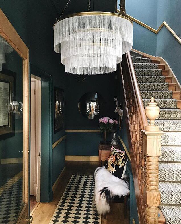This is a shot of Fiona's dark and super stylish hallway. The lampshade really gives the space a focal point and yep you guessed it- she made it herself!  You can find out how to do this and other DIY projects on her  blog .
