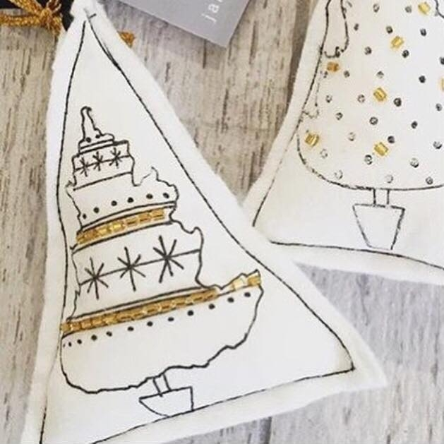 These lovely embellished decorations are from  Jane Mathers  and have almost sold out there is still some availability at Woven and In Klover