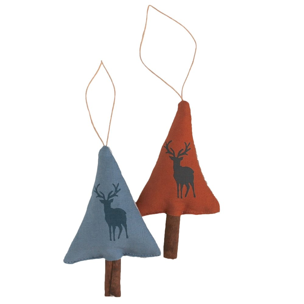 Cinnamon scented trees with stag print in gorgeous rich earthy tones from  Jupiter Red Textiles  will add n amazing scent to your tree available in the  Craft Room Comber  and Studio Souk