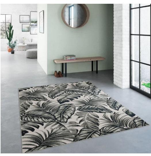 Monochrome leaf rug from Wayfair
