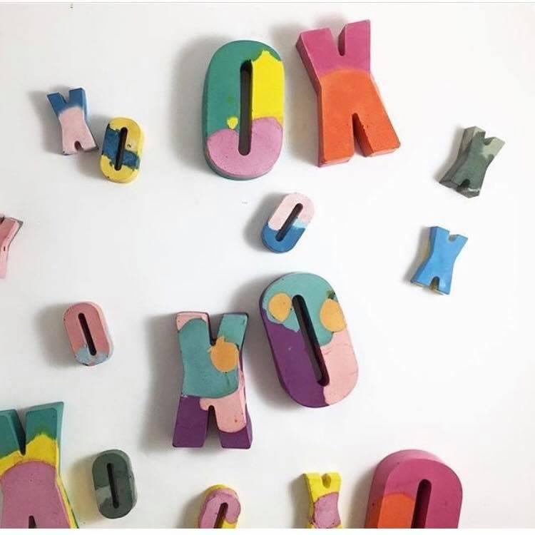 Colourful concrete letters from Studio Emma