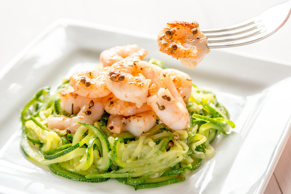 Aromatic Spiced Prawns and noodles, low-FODMAP