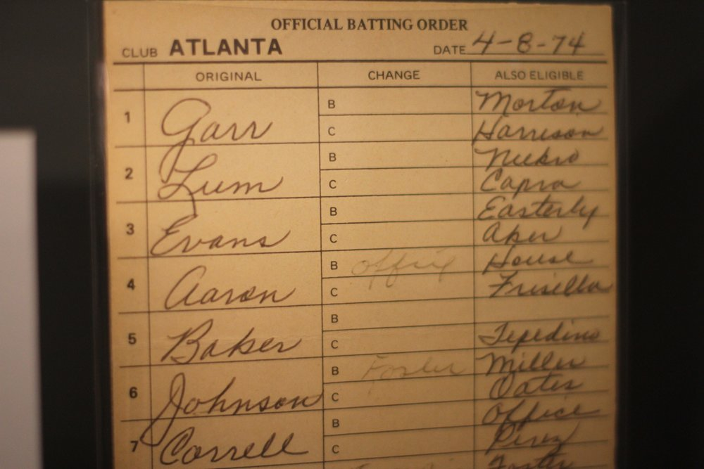 Umpire's lineup card for the game when Hank Aaron passed Babe Ruth with 715 career home runs.