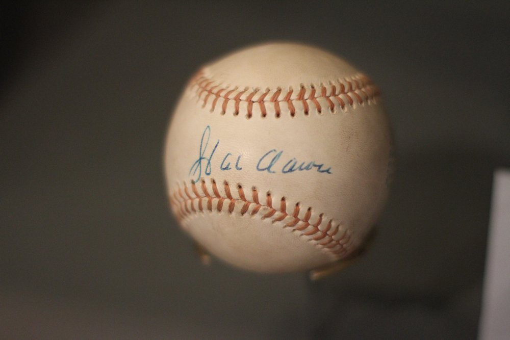 Ball hit by Hank Aaron for his 755th and final career home run in 1976.