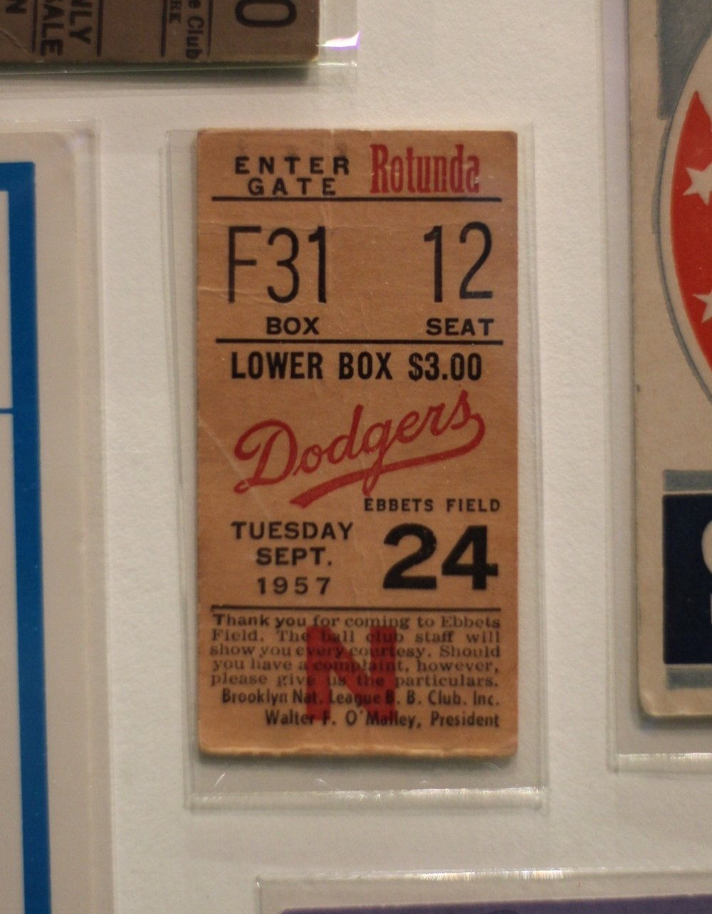 Ticket to the Brooklyn Dodger's final game at Ebbets Field.