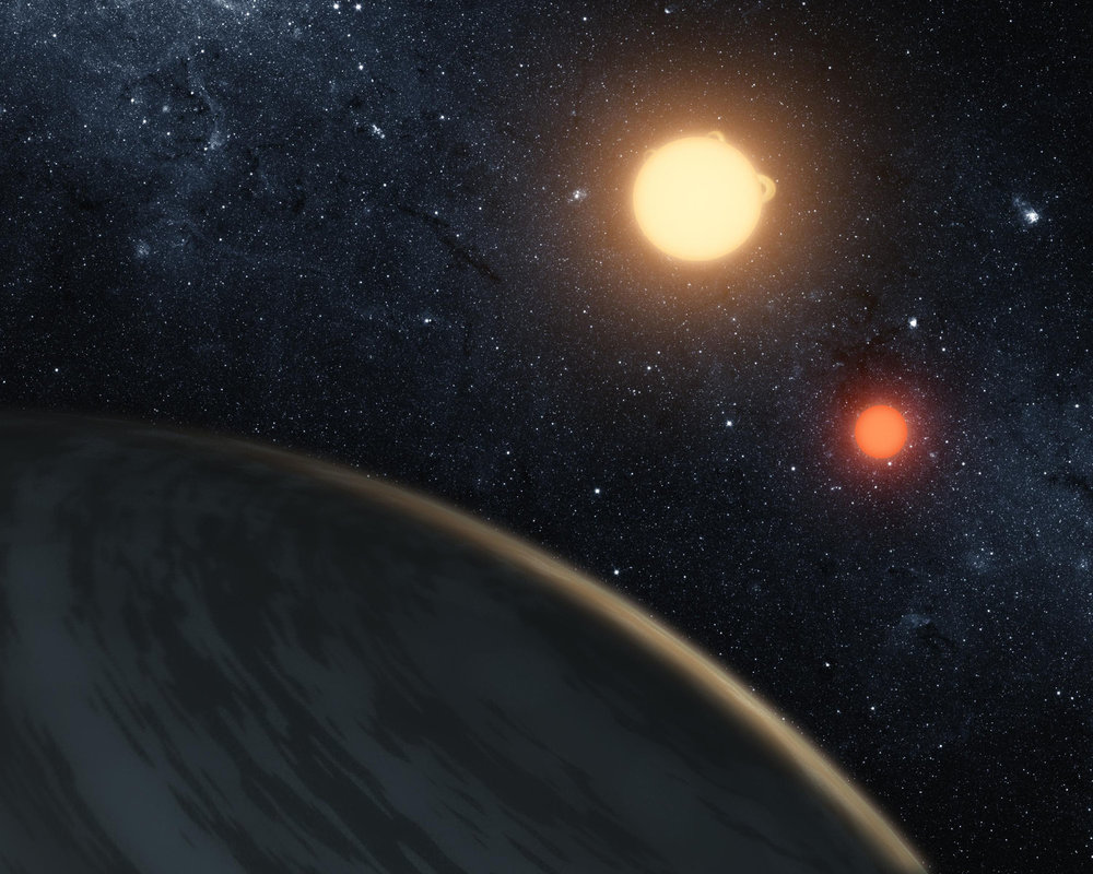 An artist's illustration of Kepler-16b, the first planet known to definitively orbit two stars. More planets orbiting two stars have been found since Kepler-16b's discovery.  Credit: NASA/JPL-Caltech/T. Pyle