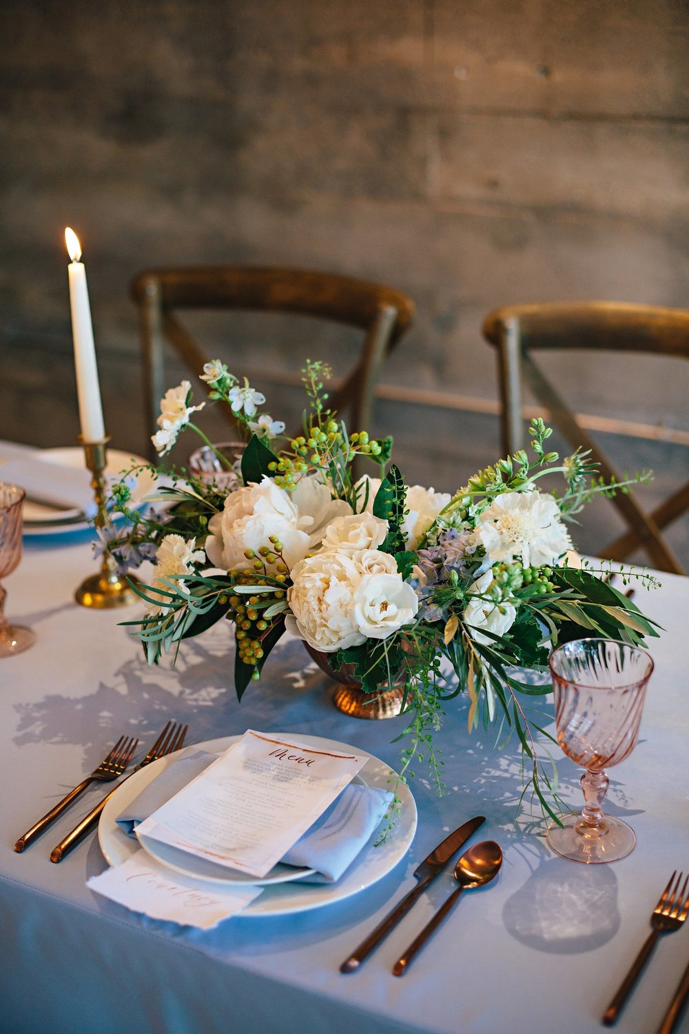 Copy of Summer Garden Wedding: Tabletop detail: Floral and Place setting