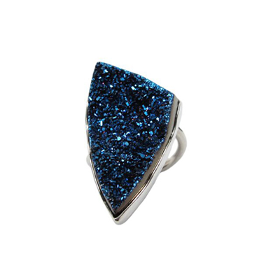 Blue triangular druzy ring in sterling silver with hand stamping on the bottom.