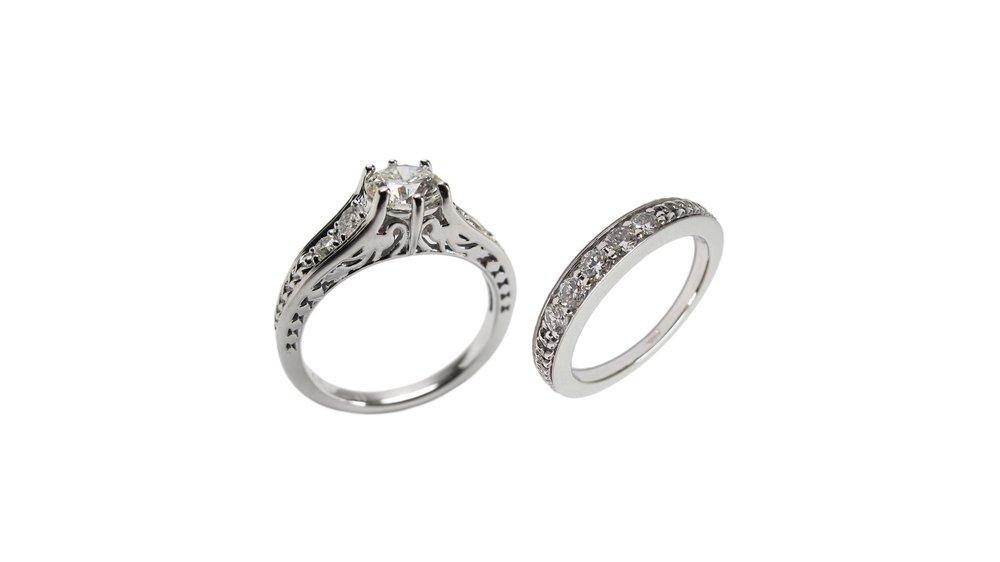 14k White Gold Vintage Inspired Heirloom Diamond Engagement & Wedding Band Set
