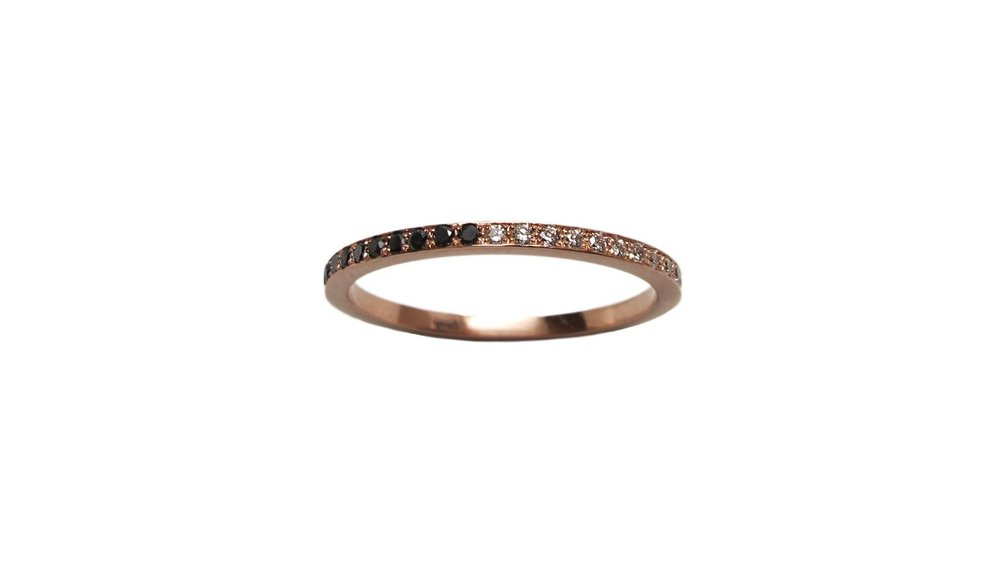 14k Rose Gold Yin/Yang Eternity Band with Half Micro Pavé Black Diamonds and Half Micro Pavé White Diamonds