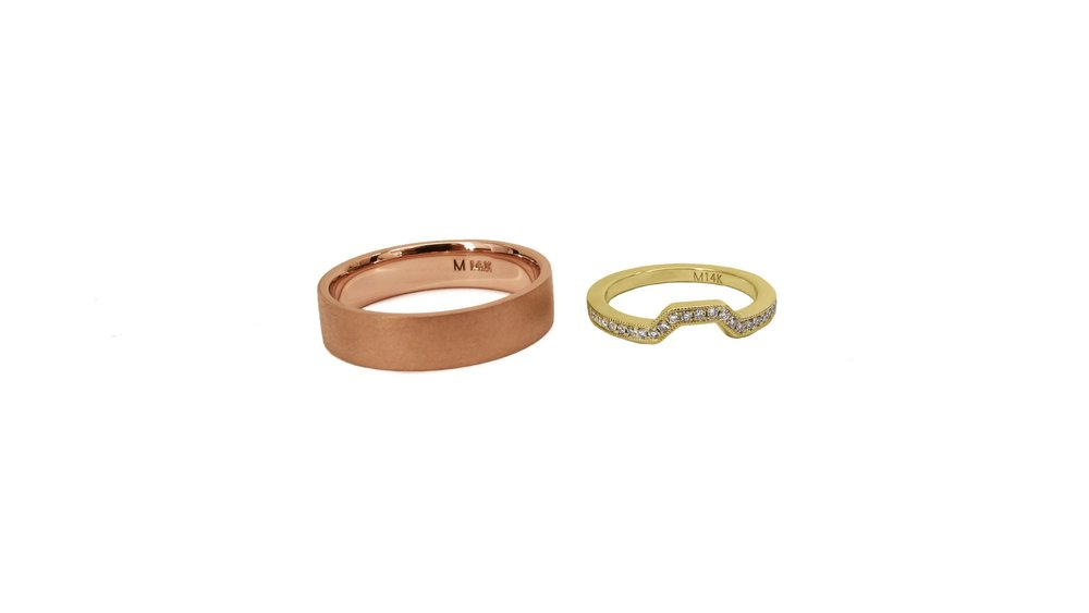 Brian-14k Rose Gold Flat Band with Brushed Finish     Danielle-14k Yellow Gold Half Eternity Band with Milgrain Edge