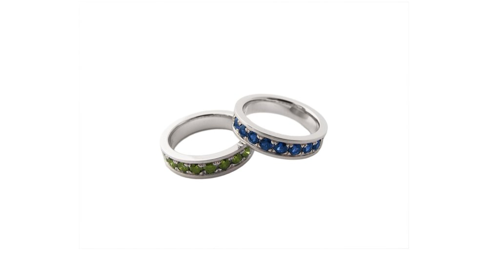 His + His 18k White Gold Green Diamond & Blue Sapphire Flat Wedding Bands