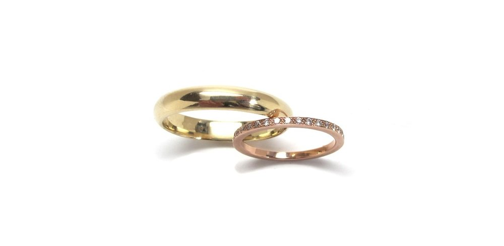 Jerome-14k Yellow Gold Half Round Wedding Band-4mm Width     Kai-14k Rose Gold Eternity Band-1.5mm Width