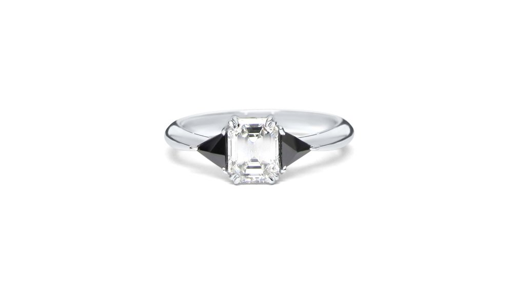 Emerald Cut Center Diamond with 2 Inverted Trillion Black Diamonds Set in 14k White Gold