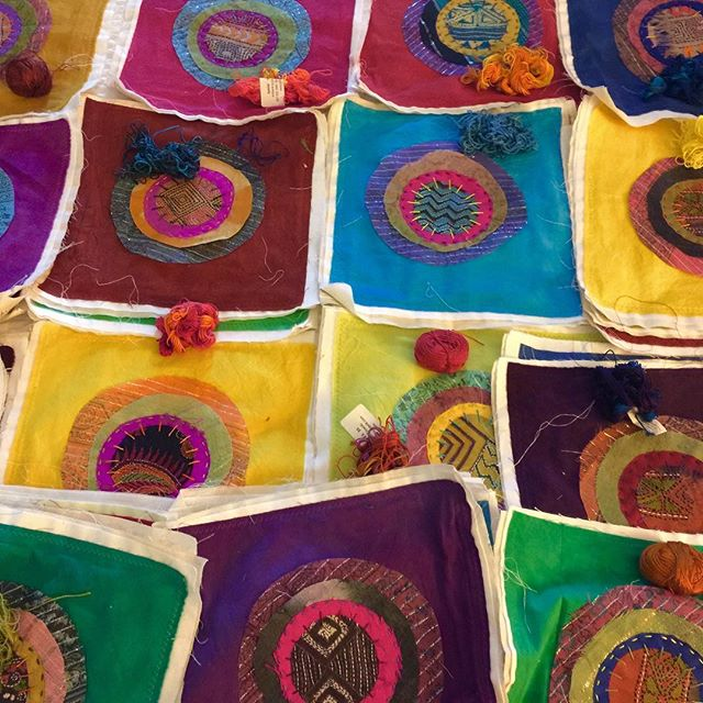 WIP. Single Circles. Hand-dyed cottons + textiles from Thailand & India. At the Main Street Show in Fort Worth. Booth 819. #mimidesignstv . www.mimidesigns.tv Mimi@mimidesigns.tv . . . #fiberart #textileartist #fiberdesign #moderndesign #abstractart #circleart #colorfulart #fabricart #ethnicart #africanart #asianart #cavecreekaz #phoenixaz #scottsdaleaz #cavecreekazartist #phoenixazartist #scottsdaleazartist #mainstreetfortworthartsfestival