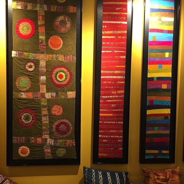 New work...new frames. #mimidesignsart www.mimidesignsart.com Mimidesignsart@gmail.com . . . #fiberart #textileartist #fiberdesign #moderndesign #abstractart #circleart #colorfulart #fabricart #ethnicart #asianart #cavecreekaz #phoenixaz #scottsdaleaz #phoenixazartist #scottsdaleazartist