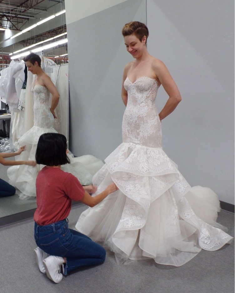 Former life as a bridal gown fit expert.