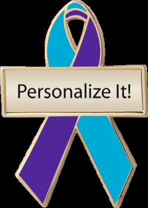 b2736cabe2d Teal and Purple Custom Awareness Ribbons | Lapel Pins