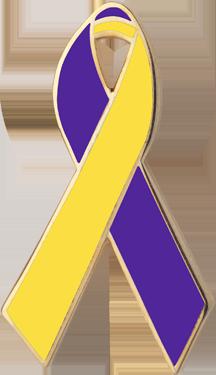 purple and yellow awareness ribbons lapel pins