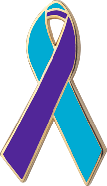teal and purple awareness ribbons lapel pins