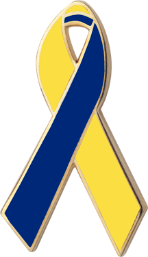 Yellow And Blue Awareness Ribbons Lapel Pins