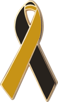 Black and Gold Awareness Ribbon Pin