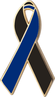 Black and Navy Awareness Ribbon Pin