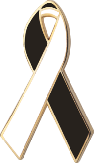 Black and White Awareness Ribbon Pin