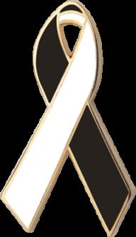 Black and White Awareness Ribbon Pin