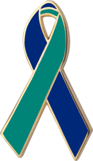 Blue and Green Awareness Ribbon Pin
