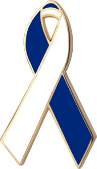 Blue and White Awareness Ribbon Pin