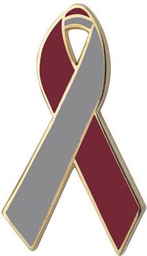 Maroon and Gray Awareness Ribbon Pin