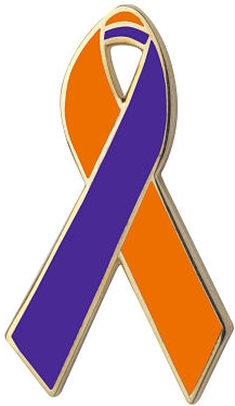 Orange and Purple Awareness Ribbon Pin