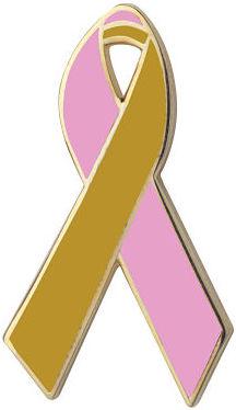 Pink and Gold Awareness Ribbon Pin