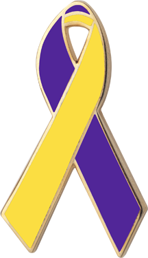 Purple and Yellow Awareness Ribbon Pin