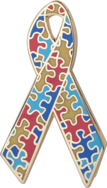 Puzzle Pieces Awareness Ribbon Pin