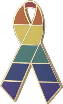 Rainbow Awareness Ribbon Pin