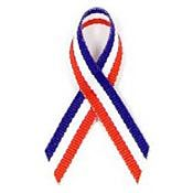 Red, White and Blue Fabric Awareness Ribbons