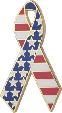 Red, White and Blue Awareness Ribbon Pin