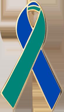 Royal Blue and Green Awareness Ribbon Pin