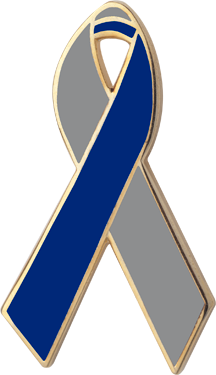 Silver and Blue Awareness Ribbon Pin