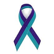Teal and Purple Fabric Awareness Ribbons