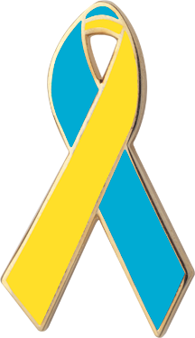 Teal and Yellow Awareness Ribbon Pin