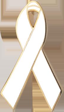 White Awareness Ribbon Pin